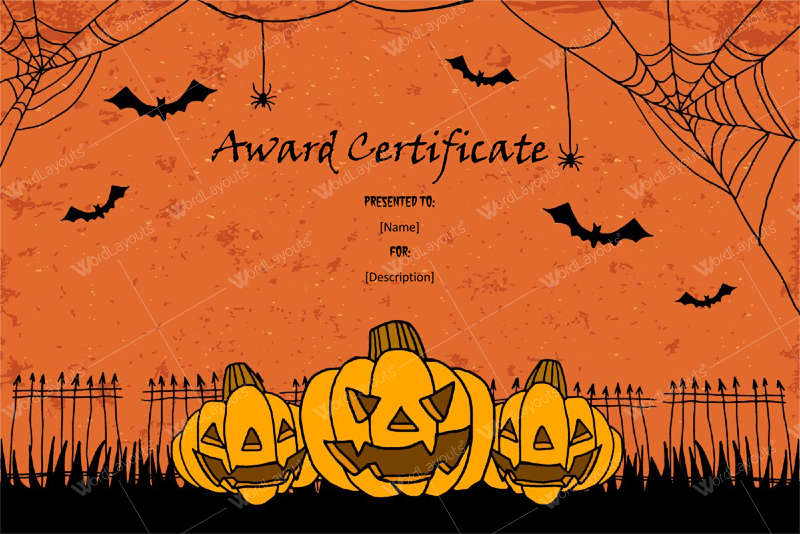 halloween award certificates 5 printables for microsoft