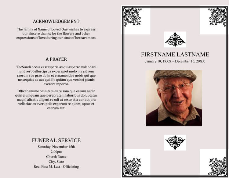 free funeral order of service template word