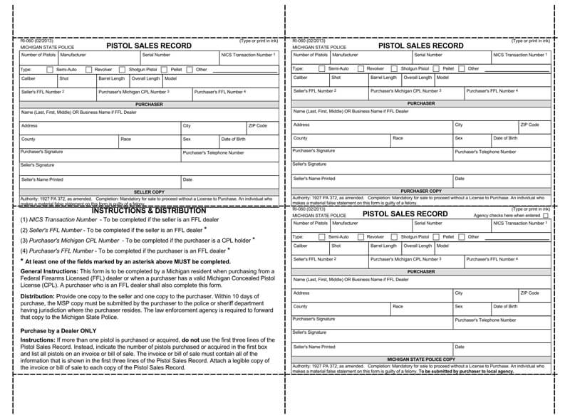 Free Gun Bill of Sale Form