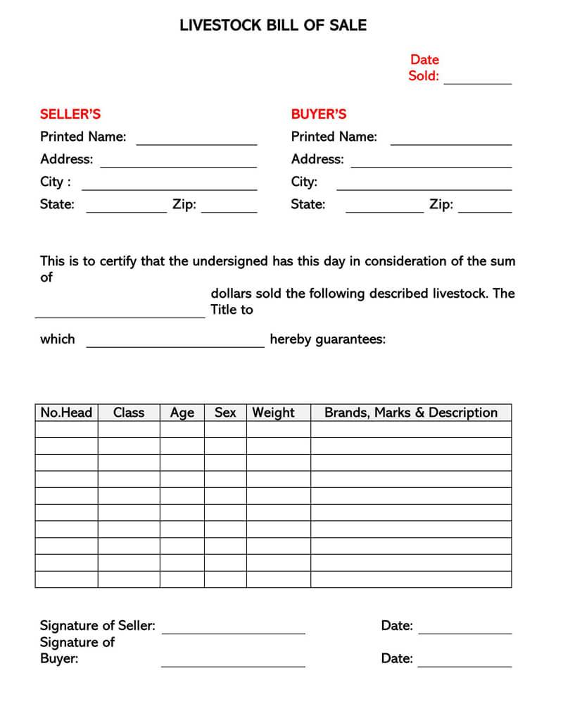 Free Livestock Bill of Sale Form 06