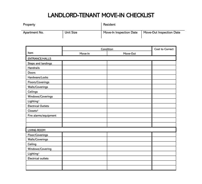 Free Move-in Move-out Checklist For Landlord-Tenant Word