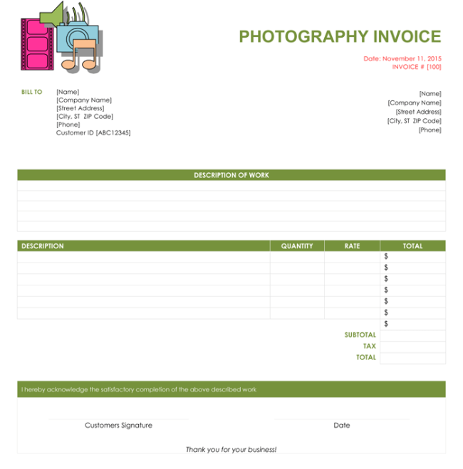 Photography Invoice Templates To Make Quick Invoices - Invoice template images