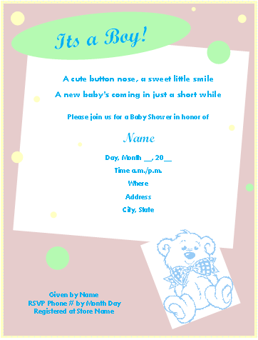 picture regarding Printable Baby Boy Shower Invitations titled Cost-free Printable Child Shower Invites for Microsoft® Phrase