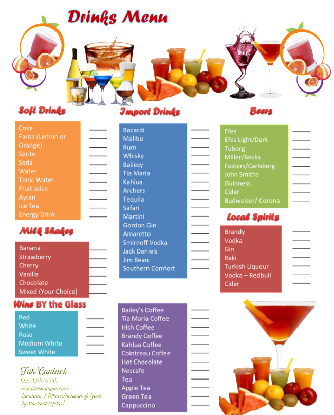 Drink Menu Template - 5 Best Drink Menu Formats
