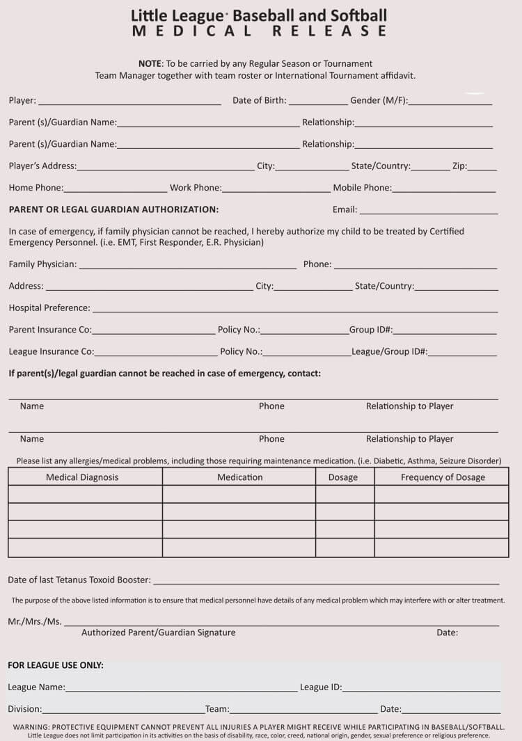 Free Sample Of Medical Waiver Form