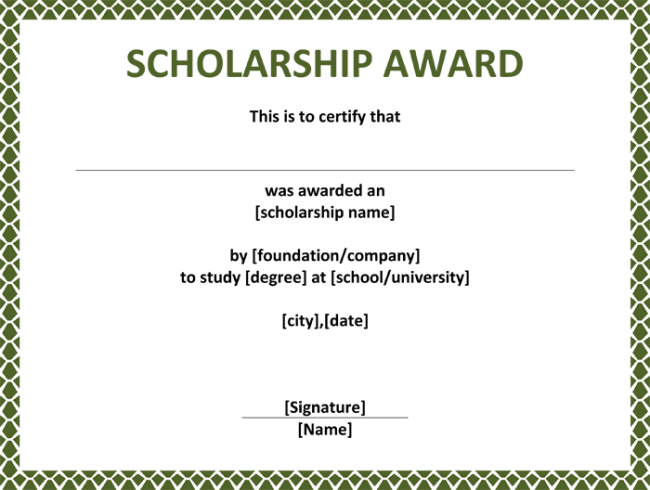 5 Plus Scholarship Award Certificate Examples for Word and PDF – Award Certificate