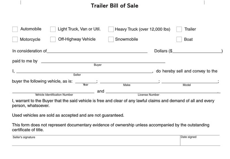 Free Trailer Bill of Sale Form