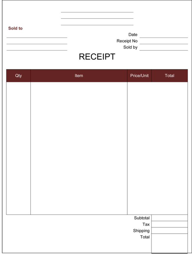 Free Printable Cash Receipt Template  Free Template For Receipt Of Payment