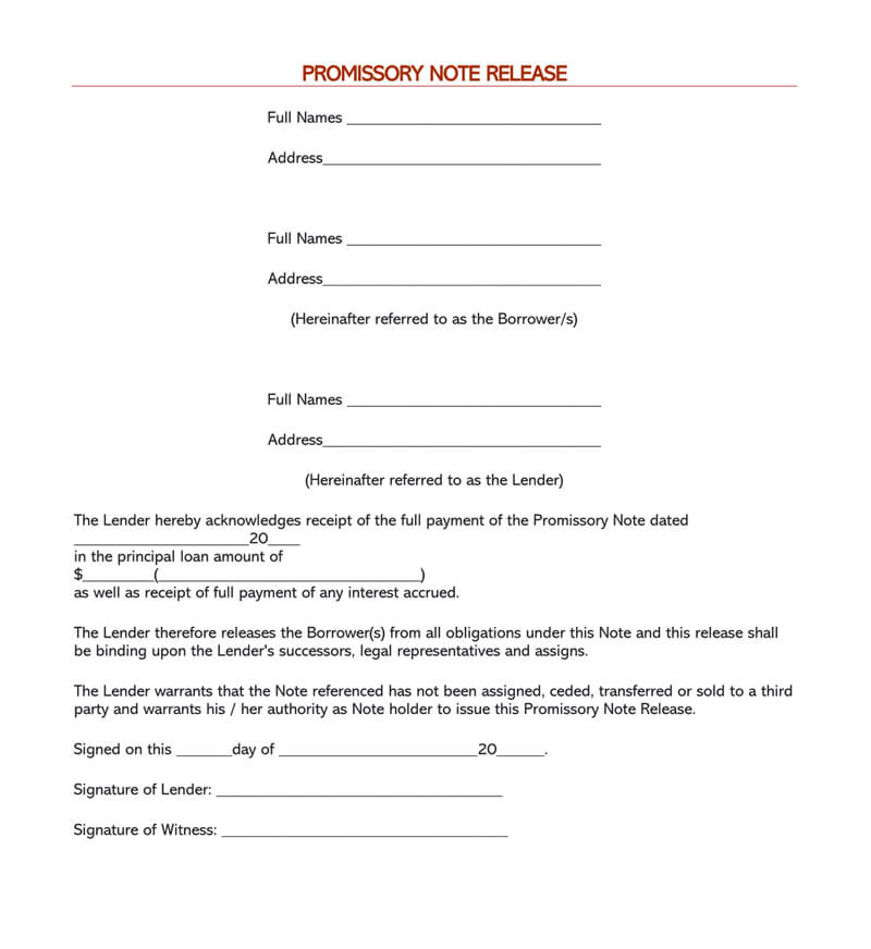 Free release of debt form