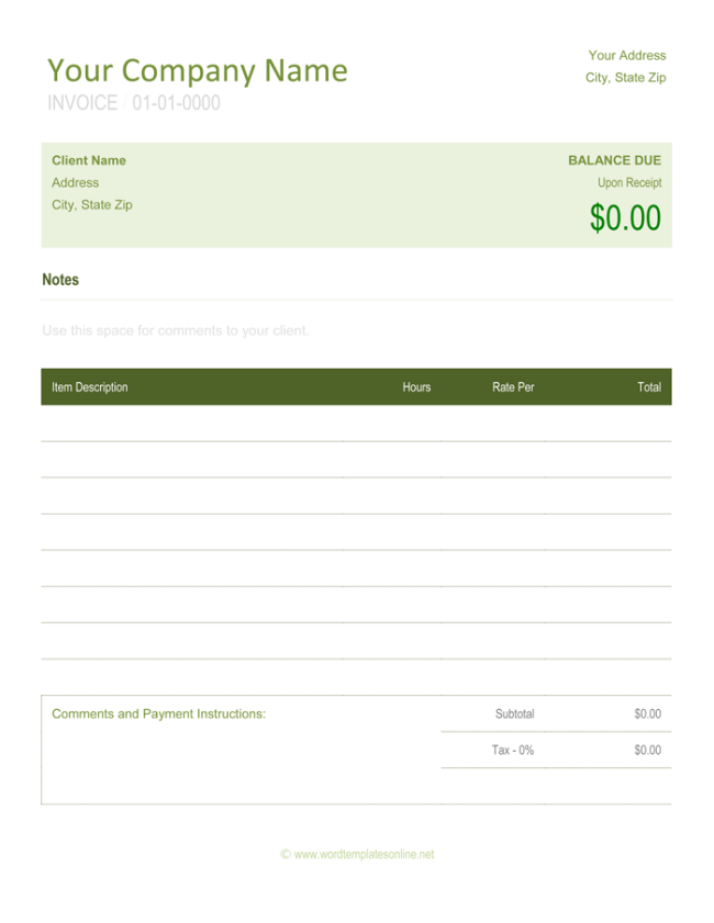 Freelance Hourly Invoice Template For Word  Invoice Word Template Free