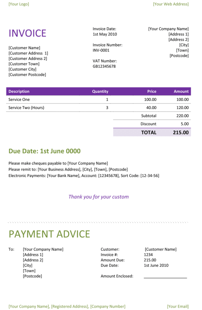 Freelance Invoice Template For Word,  Invoice Word Template Free