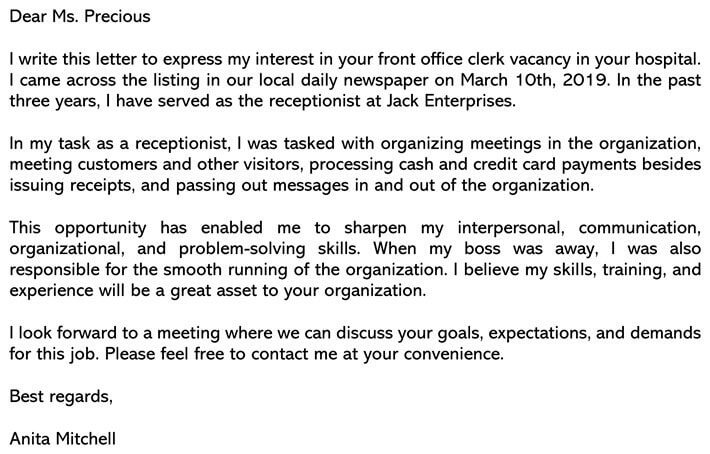 Front Desk Receptionist Cover Letter from www.wordtemplatesonline.net