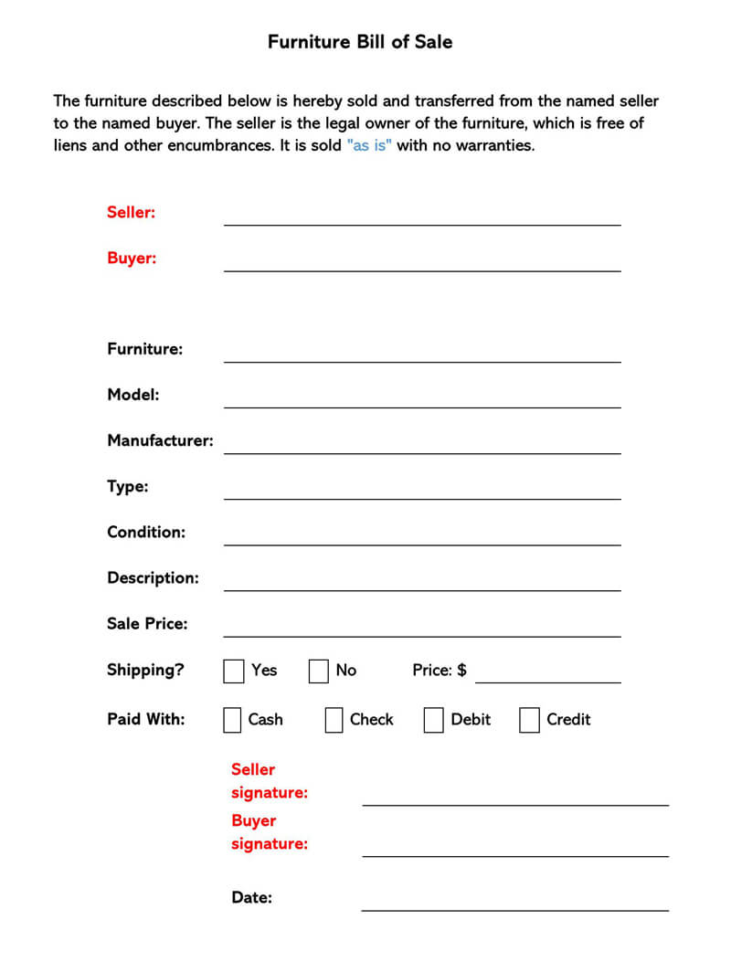 Furniture Bill of Sale Form 02