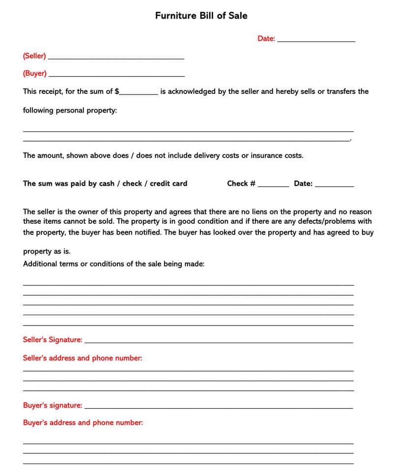 Furniture Bill of Sale Form 03