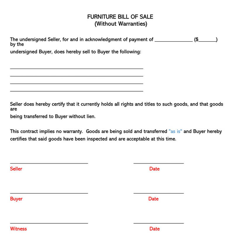 Furniture Bill of Sale Without Warranties Form