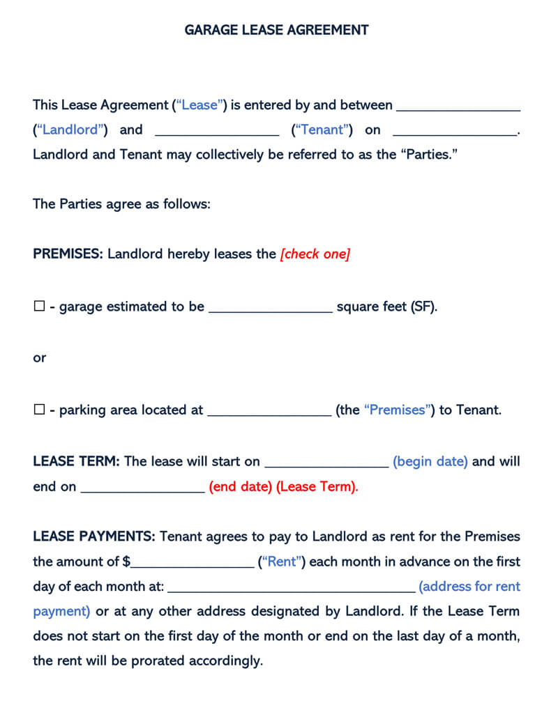 Garage Parking Rental Agreement Template