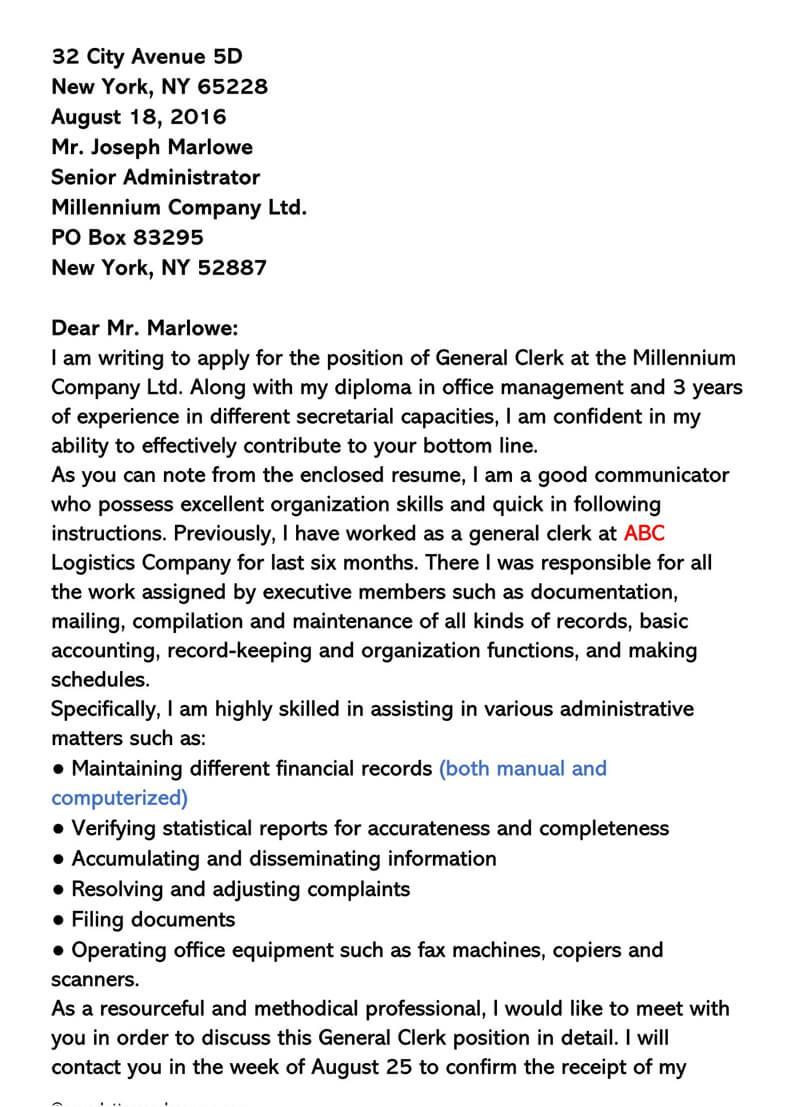 General Clerical Cover Letter