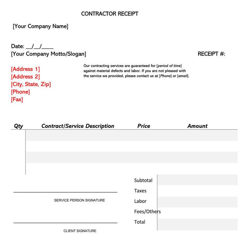General Contractor Receipt