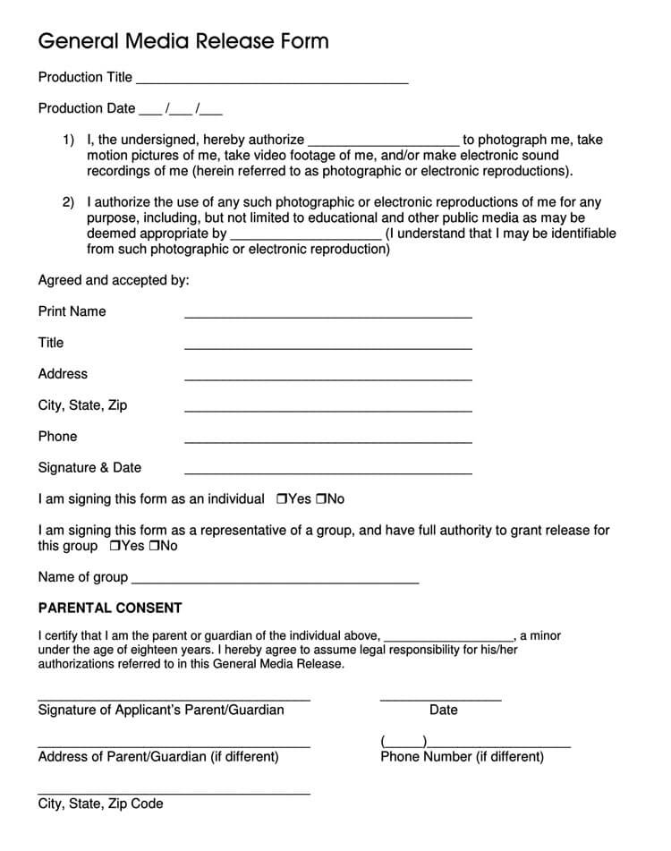 General Media Release Form Template