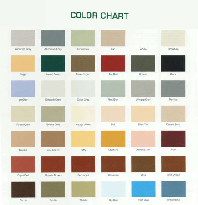 General Polymers Color Chart