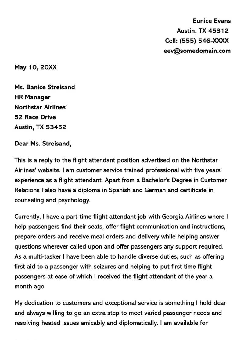 Georgia Flight Attendant Cover Letter