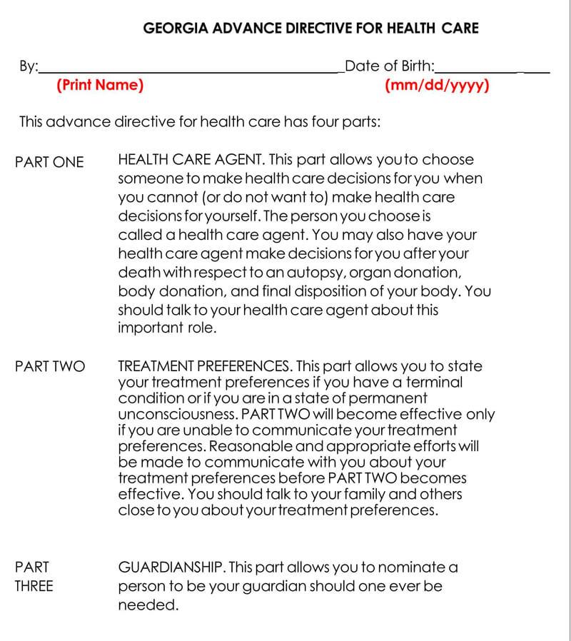 Georgia Medical POA Form