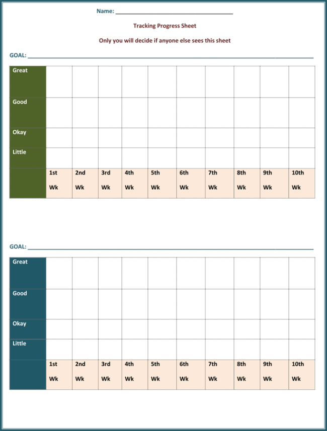 Goal Tracking Template 6 Plus Forms And Worksheets