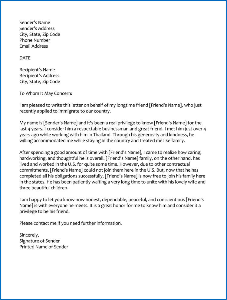 good moral character letter for immigration  samples  u0026 templates