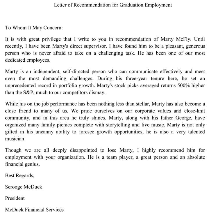 Recommendation Letter From Employer To University from www.wordtemplatesonline.net