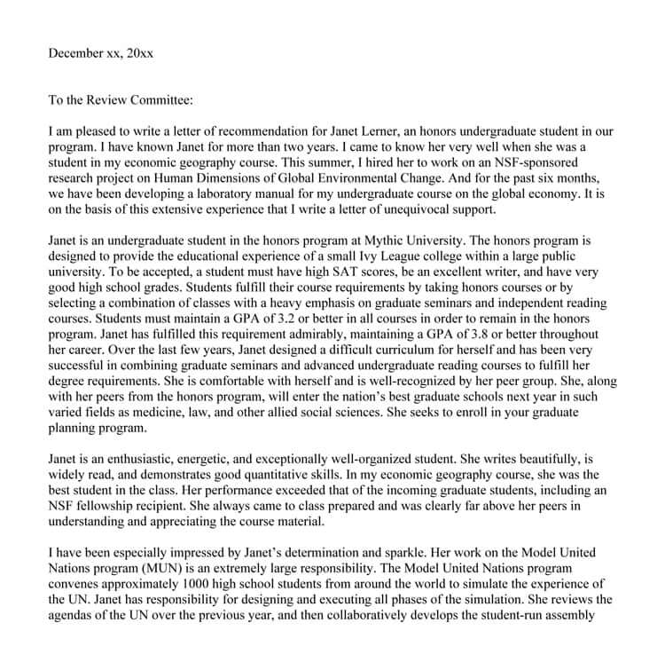 graduate program recommendation letter