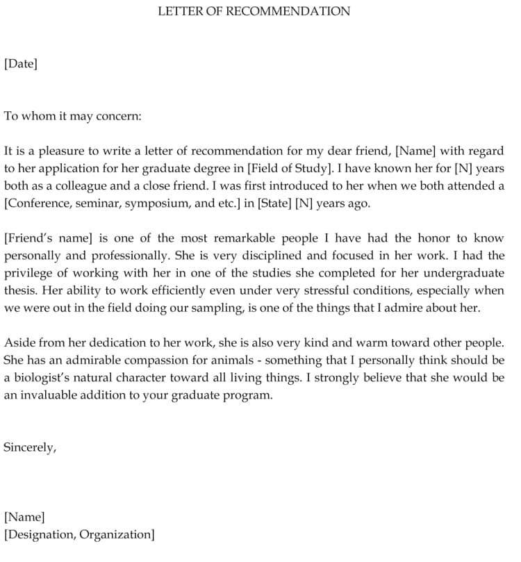 Graduate School Recommendation Letter Sample Letters And