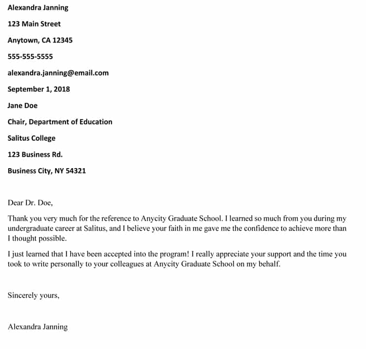 strong recommendation letter for graduate school