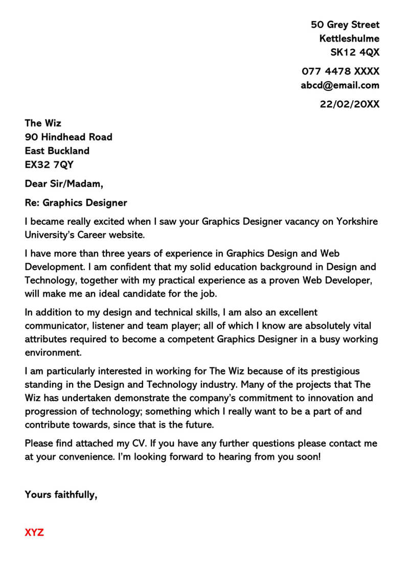 Graphic Designer Experienced Letter