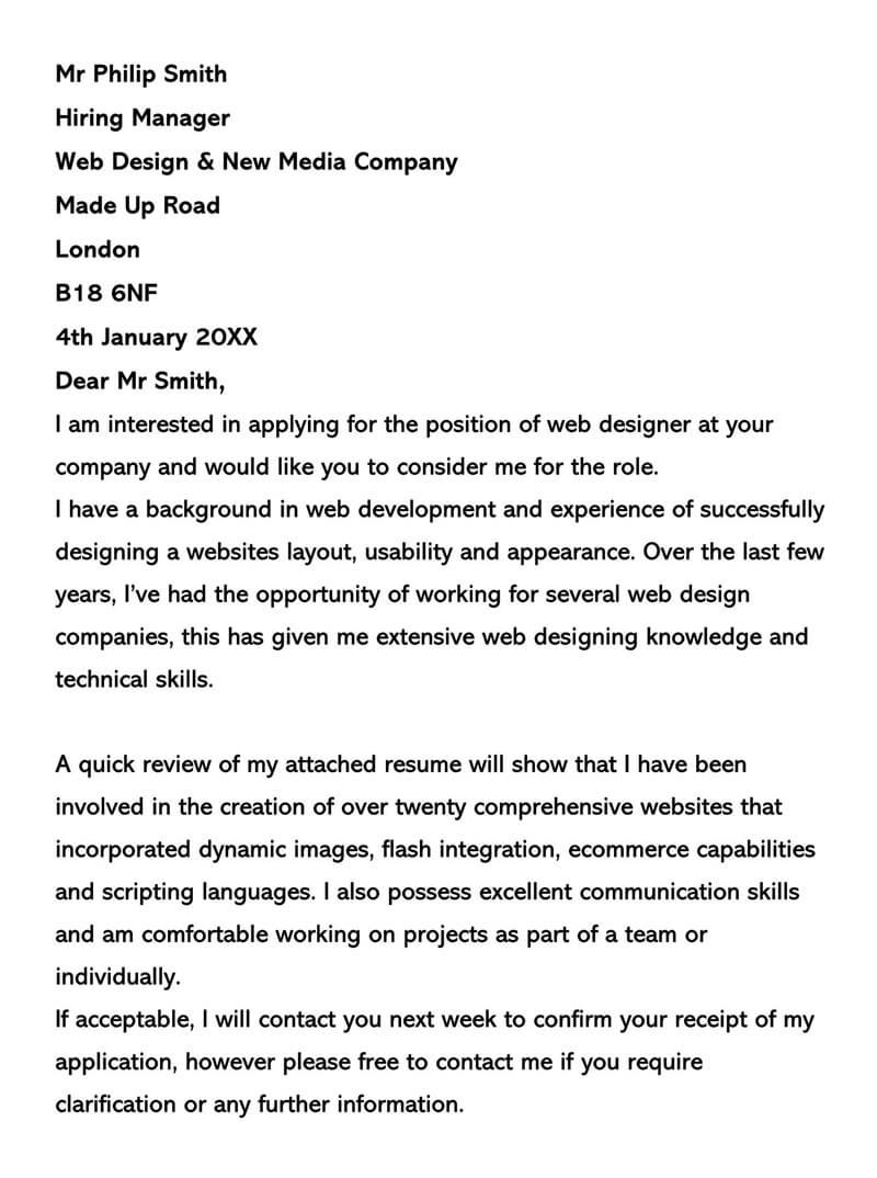 Web Developer Cover Letter No Experience from www.wordtemplatesonline.net