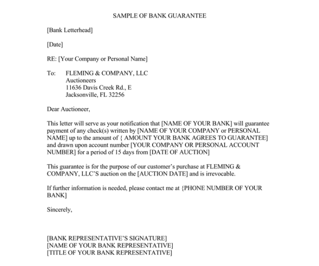 letter of guarantee samples for word and pdf guarantee letter template