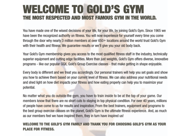 Gym Membership Offer Letter 1