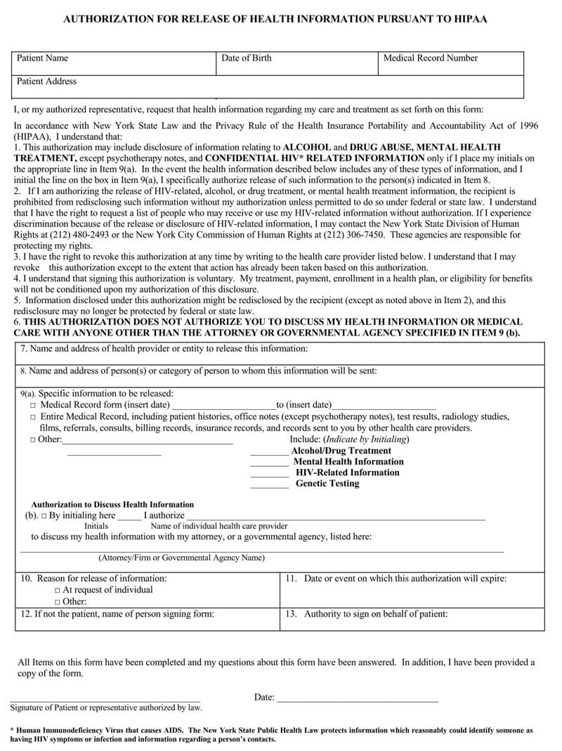 Free Medical Records Release Authorization Forms HIPAA
