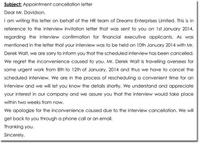 HR Appointment Cancellation Letter Templates