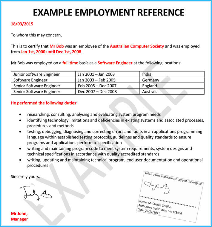 Human Resource Reference Letter for Employment