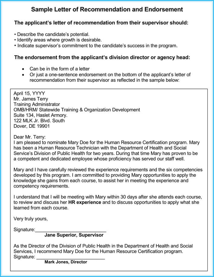 Human Resource Reference Letter For Job