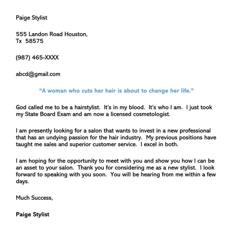 Hair Stylist Cover Letter Example