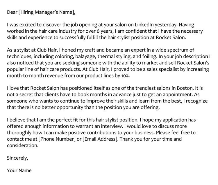 Hair Stylist Cover Letter Sample