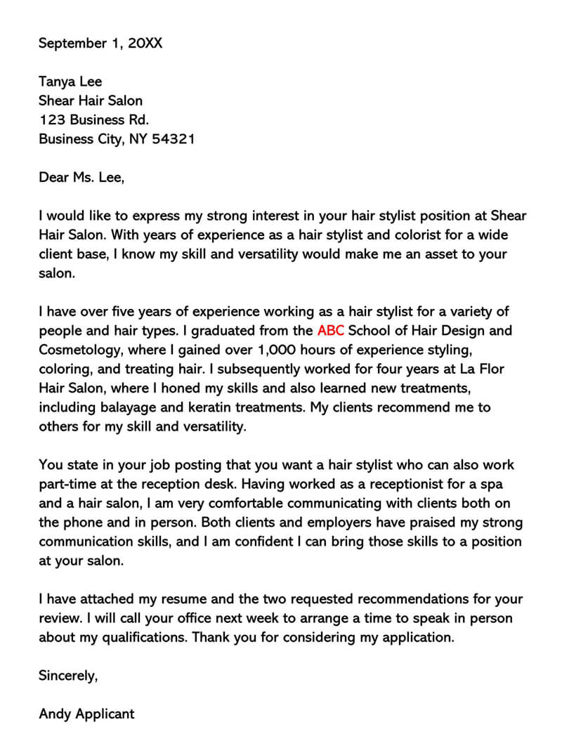 Hair Stylist Experience Letter