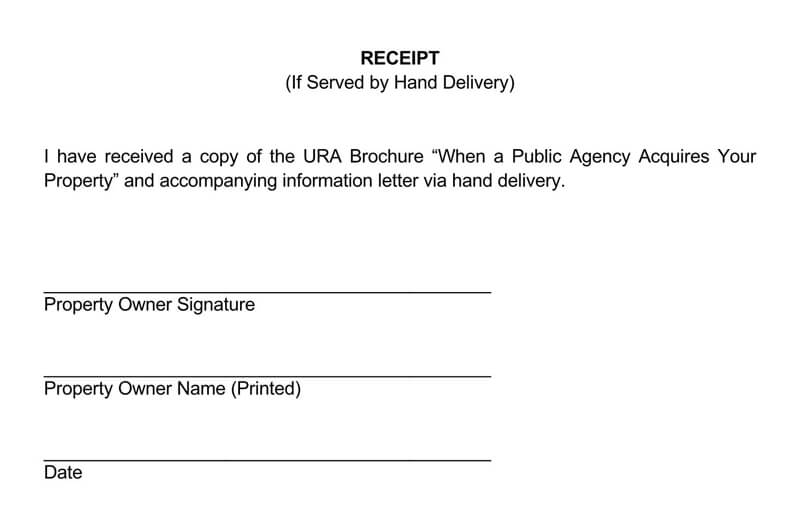 Hand Delivery Receipt.