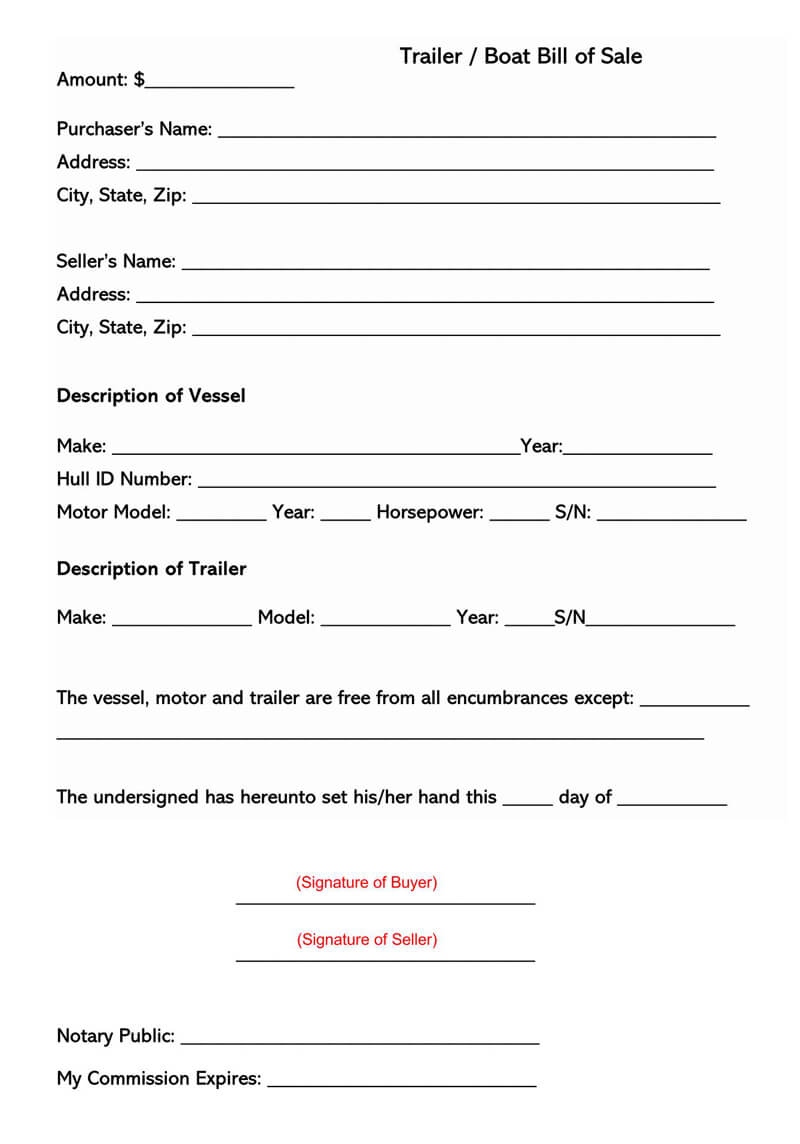 Hawai  Boat or Trailer Bill of Sale Form