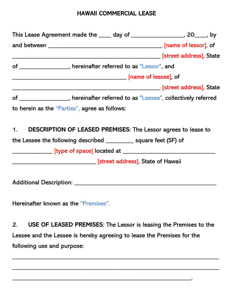 Hawaii Commercial Rental Lease Agreement