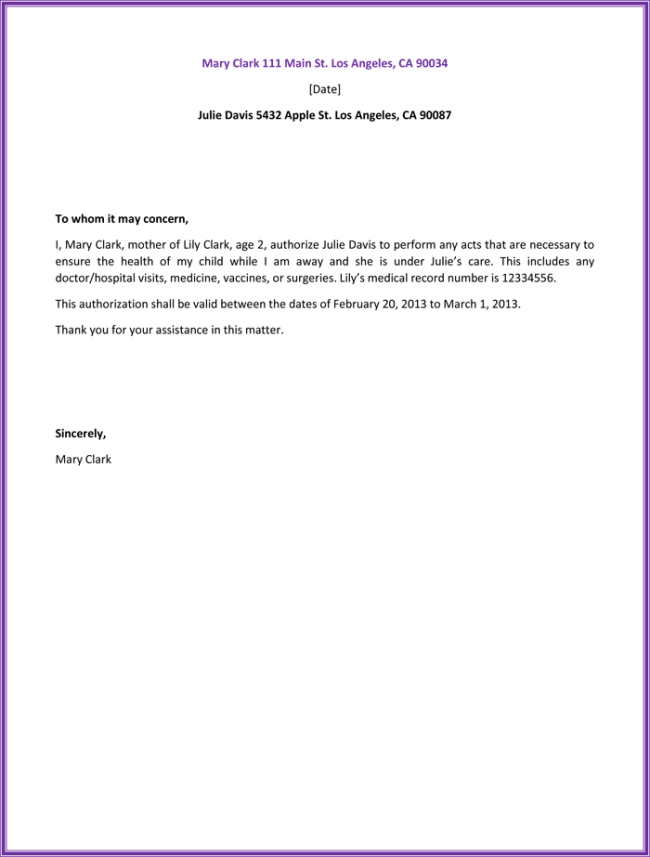 health authorization letter sample