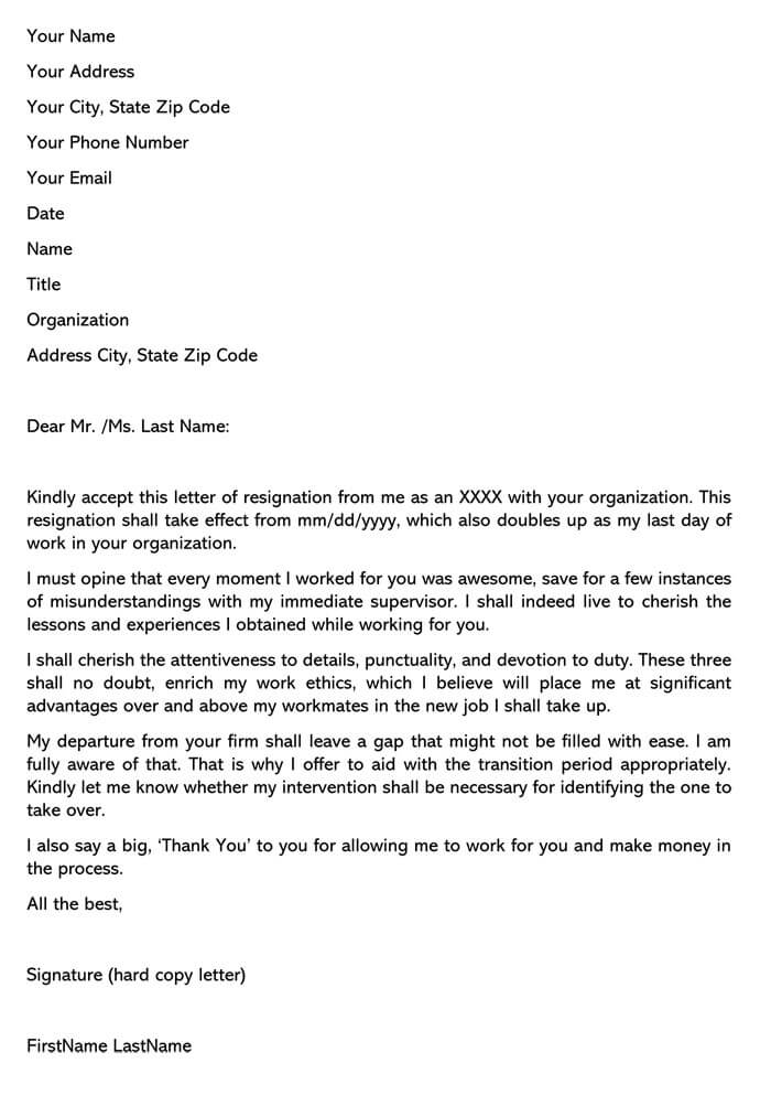 Heartfelt Resignation Letter Sample  U0026 Email Example