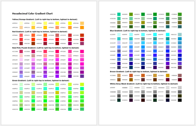 Hexadecimal Color Gradient Chart