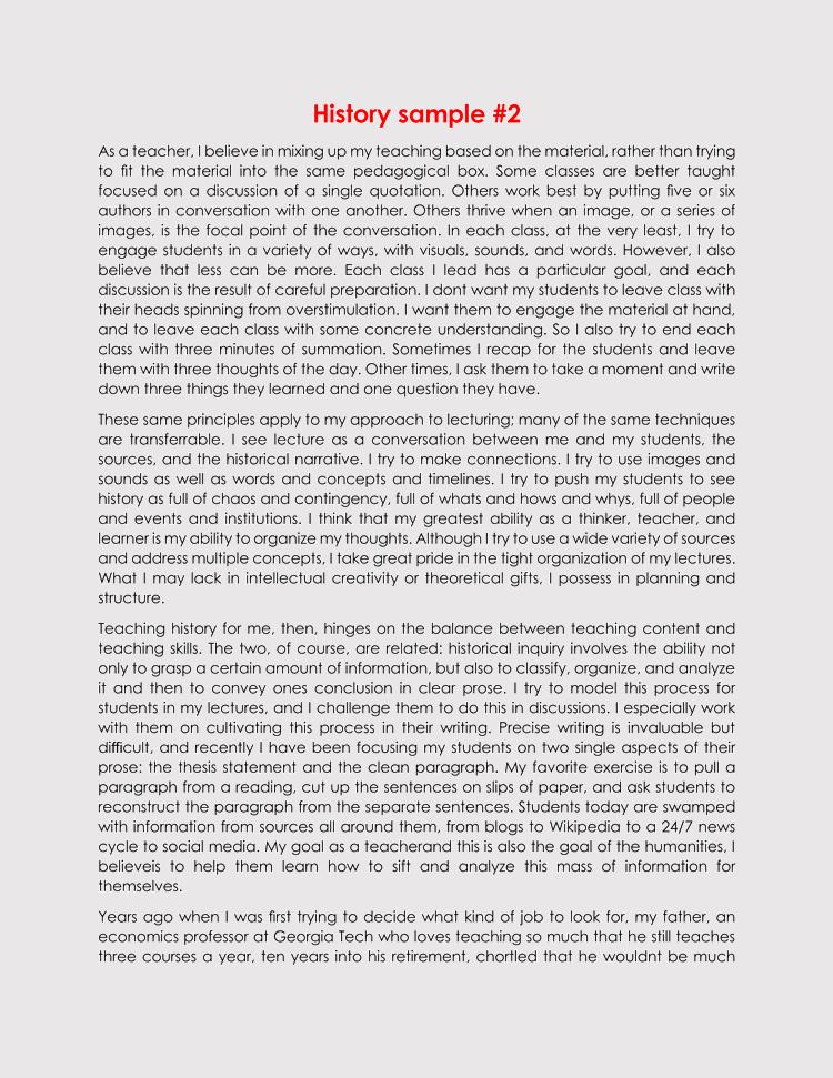 free edit history teaching statement